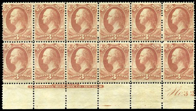 US Stamps Prices Scott Cat. # O85: 1873 3c War Official. Matthew Bennett International, Mar 2011, Sale 336, Lot 1418