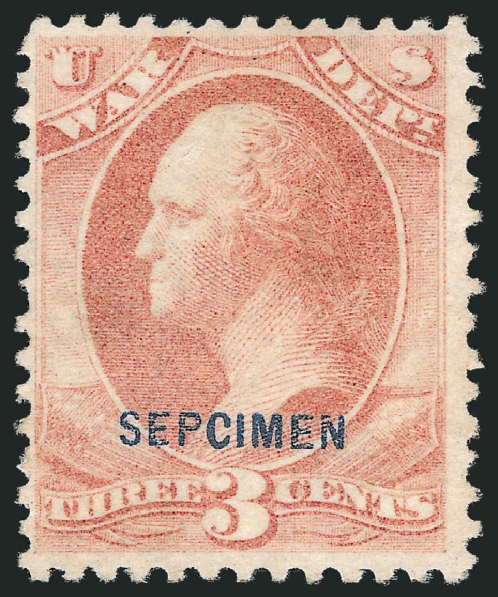 Price of US Stamps Scott Catalog #O85 - 3c 1873 War Official. Robert Siegel Auction Galleries, Dec 2010, Sale 1003, Lot 5548