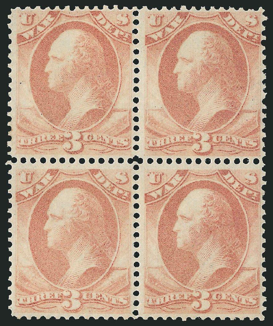 US Stamp Price Scott Catalog O85 - 3c 1873 War Official. Robert Siegel Auction Galleries, Nov 2014, Sale 1085, Lot 4155