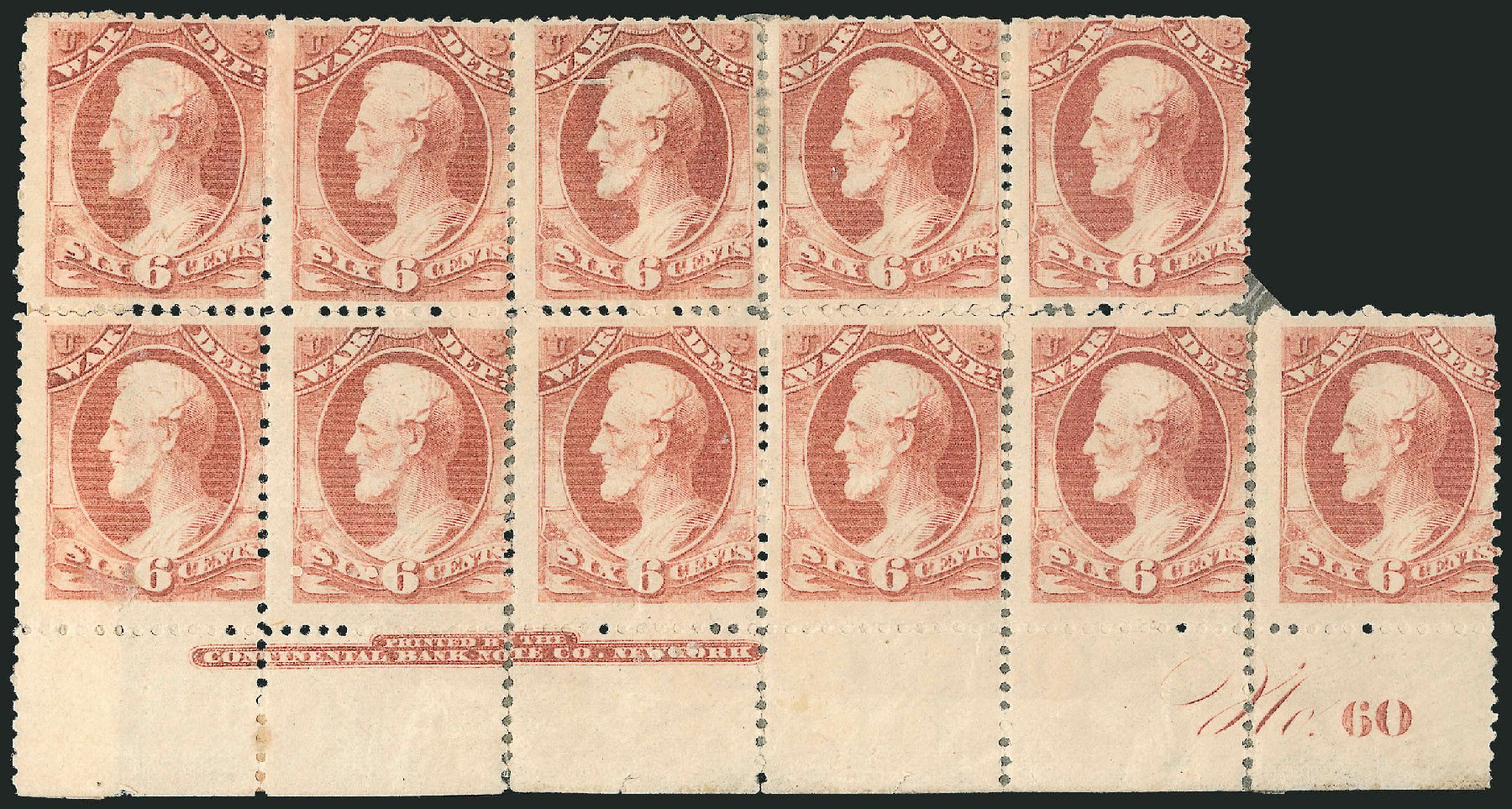 US Stamp Prices Scott Catalog O86: 1873 6c War Official. Robert Siegel Auction Galleries, Nov 2014, Sale 1085, Lot 4157