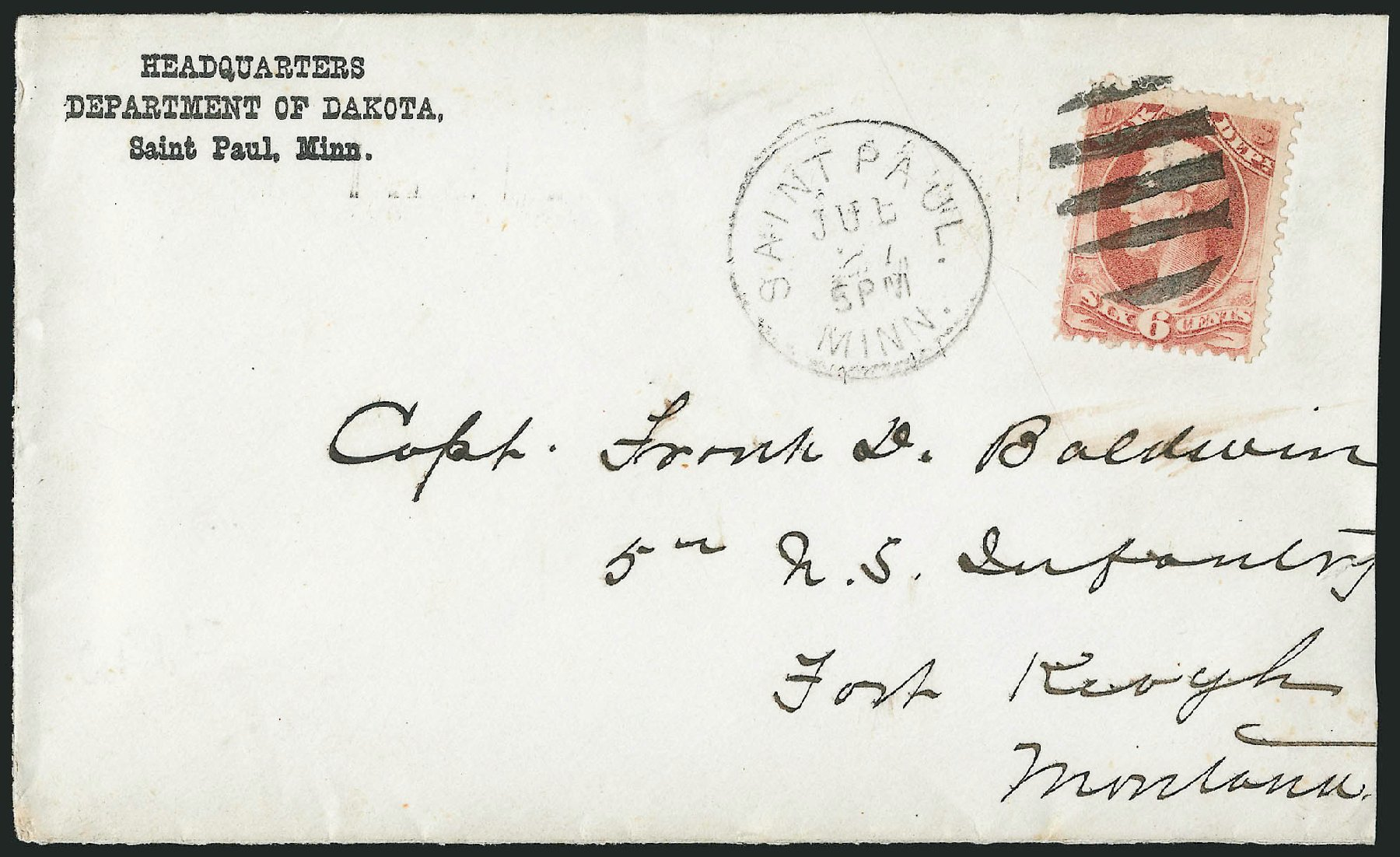 US Stamps Values Scott Cat. O86: 6c 1873 War Official. Robert Siegel Auction Galleries, Nov 2014, Sale 1085, Lot 4177