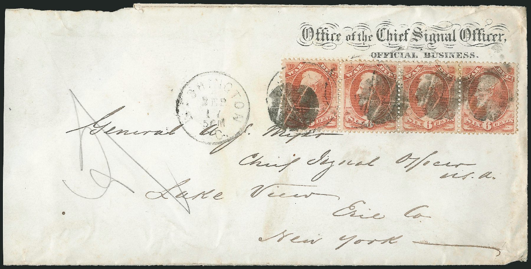 Cost of US Stamp Scott O86: 1873 6c War Official. Robert Siegel Auction Galleries, Nov 2014, Sale 1085, Lot 4178