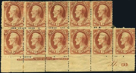 US Stamp Values Scott Cat. O86: 1873 6c War Official. Harmer-Schau Auction Galleries, Aug 2012, Sale 94, Lot 1821