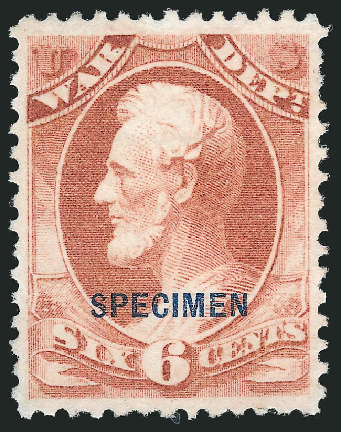 Values of US Stamps Scott Cat. O86: 6c 1873 War Official. Robert Siegel Auction Galleries, Nov 2013, Sale 1061, Lot 4211