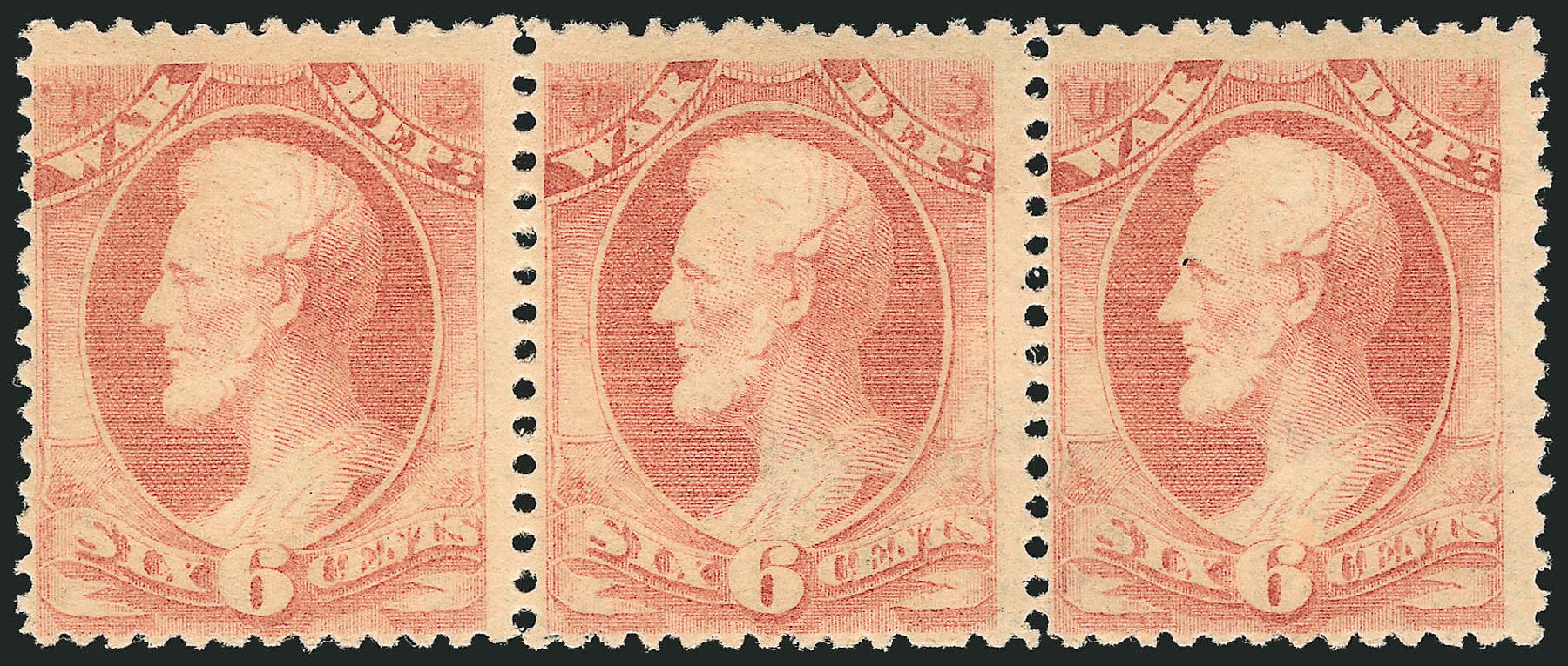 US Stamp Values Scott # O86 - 1873 6c War Official. Robert Siegel Auction Galleries, Dec 2014, Sale 1090, Lot 1675