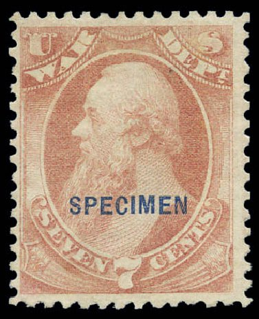 US Stamps Price Scott Catalogue O87: 7c 1873 War Official. Matthew Bennett International, Sep 2010, Sale 333, Lot 4017