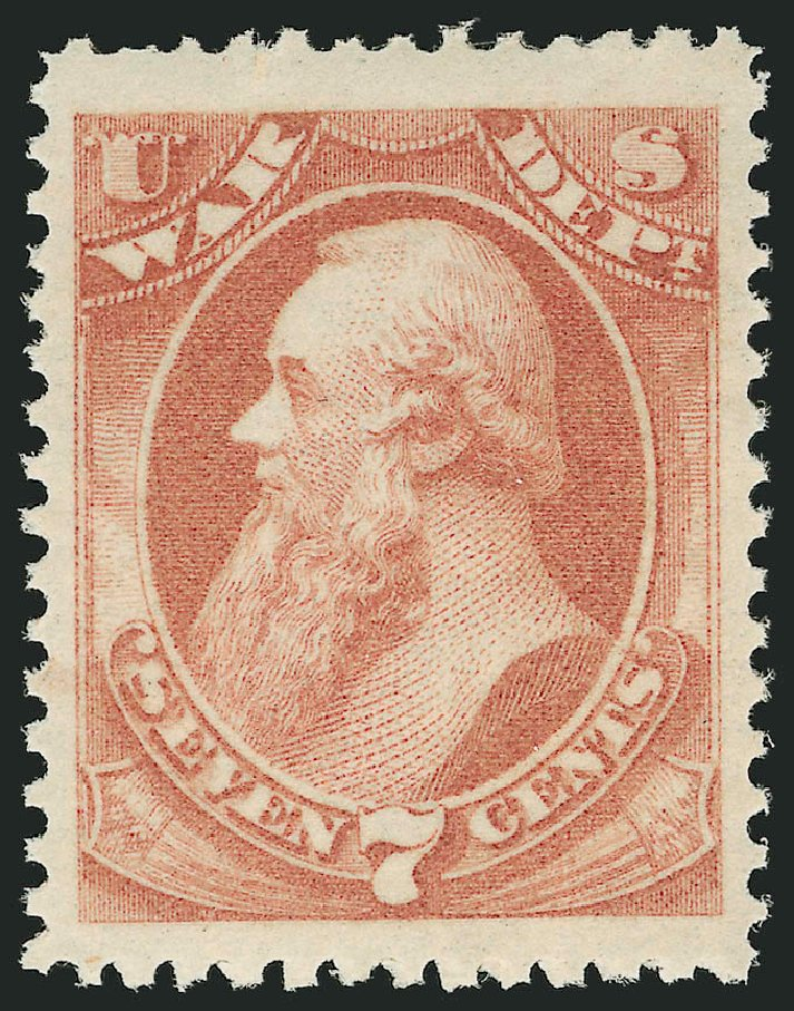 US Stamp Values Scott Cat. # O87: 7c 1873 War Official. Robert Siegel Auction Galleries, Nov 2014, Sale 1085, Lot 4158