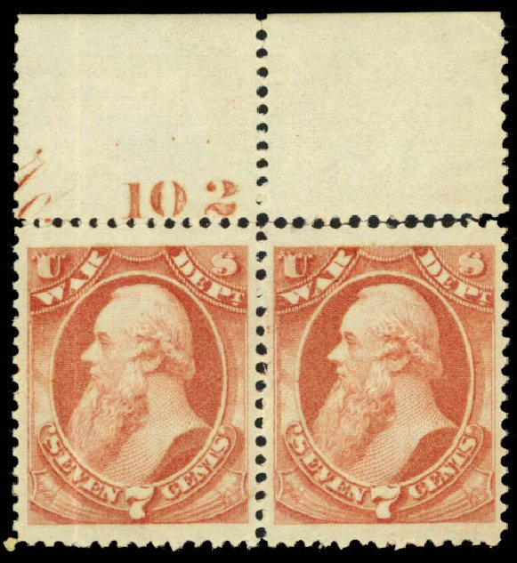 Price of US Stamps Scott Cat. # O87 - 1873 7c War Official. Daniel Kelleher Auctions, Mar 2013, Sale 635, Lot 799