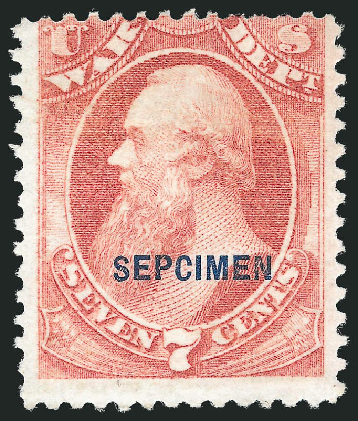 US Stamp Prices Scott #O87 - 7c 1873 War Official. Robert Siegel Auction Galleries, Dec 2010, Sale 1003, Lot 5549