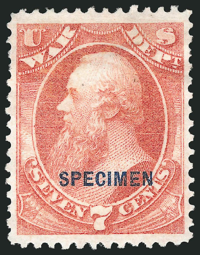 US Stamps Value Scott Catalogue O87 - 7c 1873 War Official. Robert Siegel Auction Galleries, Mar 2015, Sale 1095, Lot 649