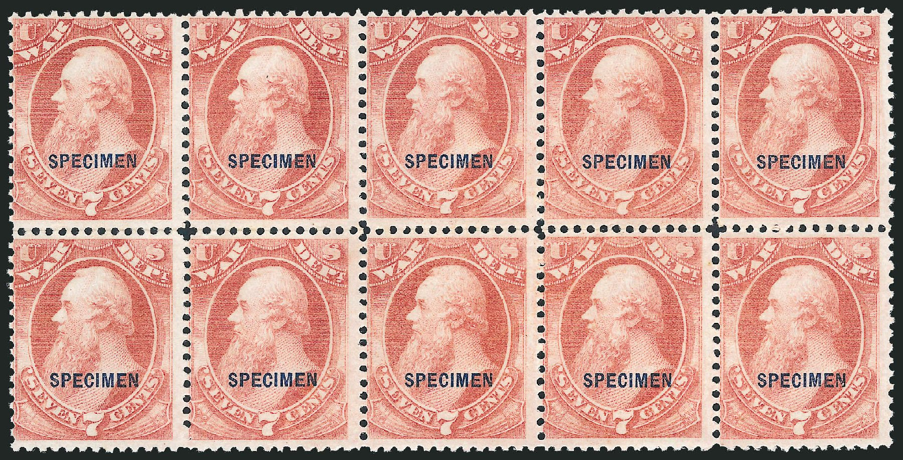 US Stamp Prices Scott Cat. # O87 - 1873 7c War Official. Robert Siegel Auction Galleries, Dec 2010, Sale 1003, Lot 5550
