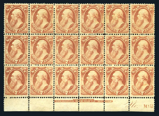 US Stamps Value Scott Catalog O87 - 1873 7c War Official. Harmer-Schau Auction Galleries, Aug 2015, Sale 106, Lot 2161