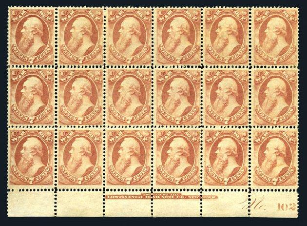 US Stamps Value Scott Catalog O87 - 1873 7c War Official. Harmer-Schau Auction Galleries, Aug 2015, Sale 106, Lot 2161