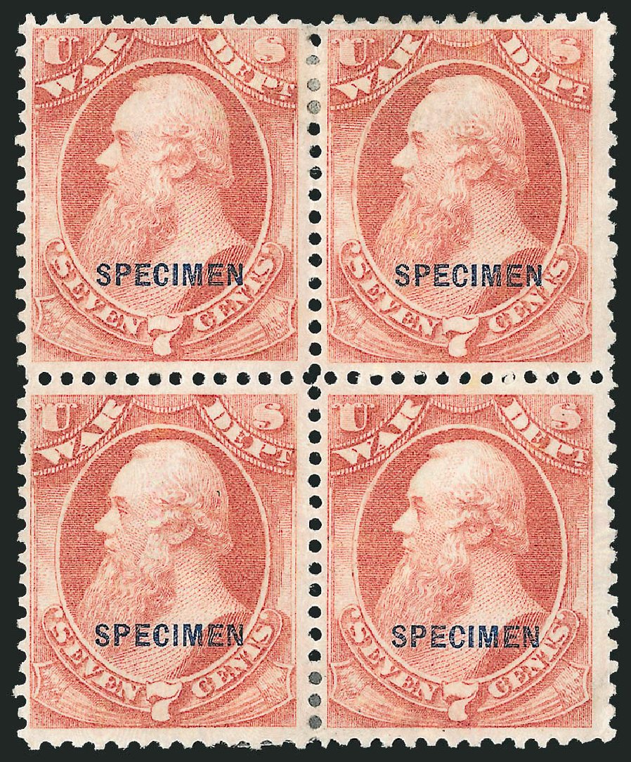 US Stamps Price Scott Cat. #O87: 7c 1873 War Official. Robert Siegel Auction Galleries, Mar 2015, Sale 1095, Lot 661
