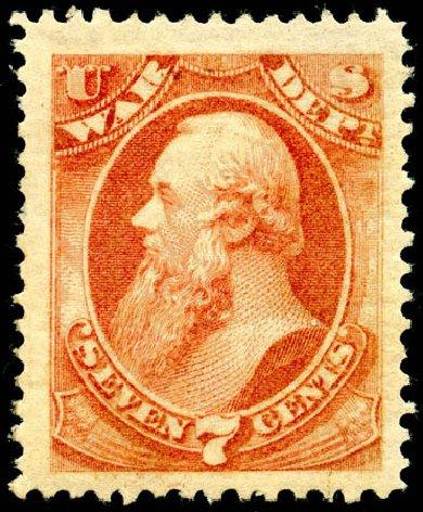 Cost of US Stamps Scott Catalogue O87: 1873 7c War Official. Matthew Bennett International, Jun 2008, Sale 328, Lot 1252