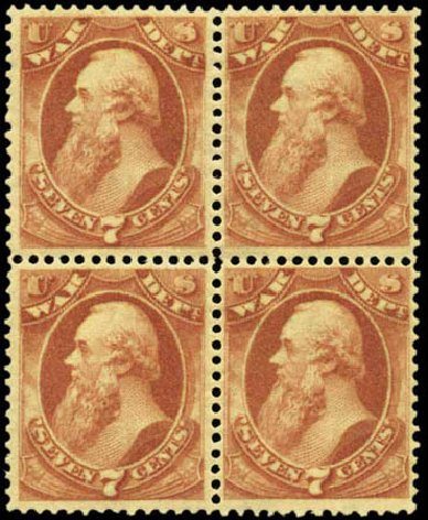US Stamps Price Scott Catalog O87 - 7c 1873 War Official. Harmer-Schau Auction Galleries, Feb 2012, Sale 92, Lot 1342