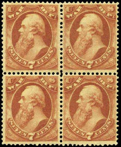 US Stamps Price Scott Catalog O87 - 7c 1873 War Official. Harmer-Schau Auction Galleries, Feb 2012, Sale 92, Lot 1342