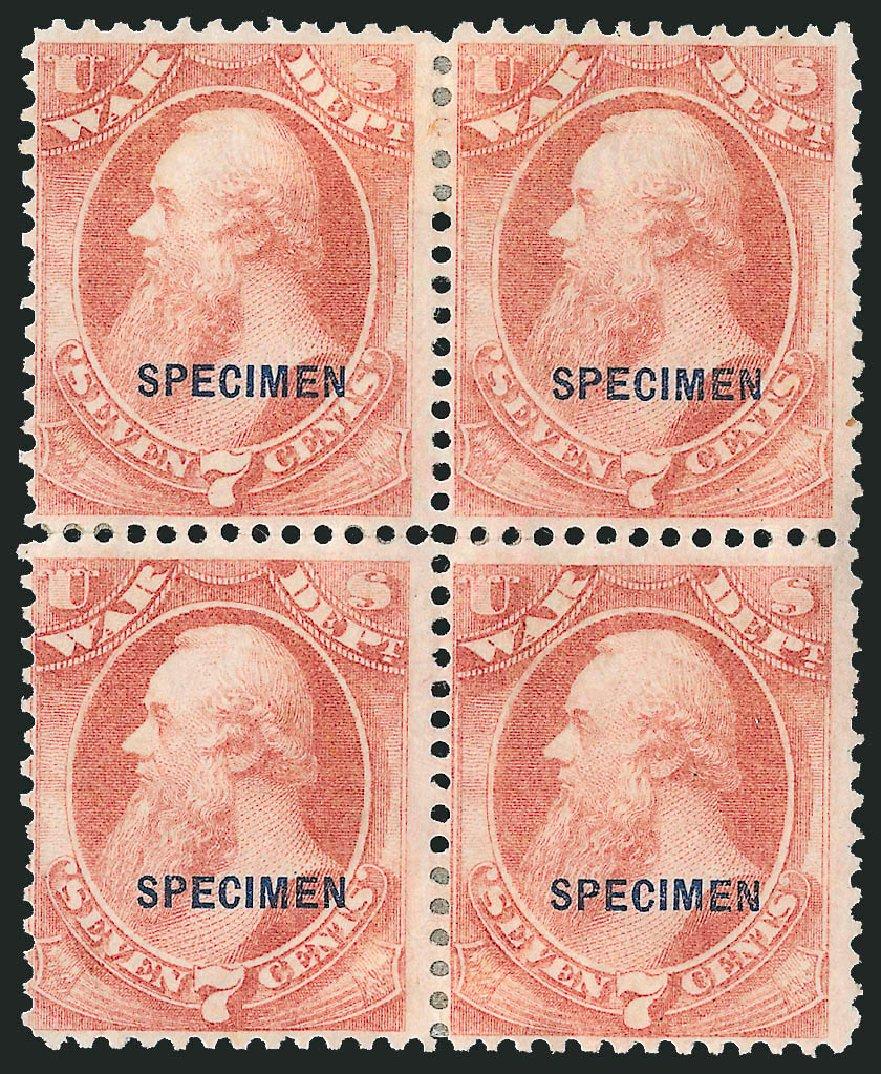 US Stamps Price Scott #O87 - 7c 1873 War Official. Robert Siegel Auction Galleries, Mar 2015, Sale 1095, Lot 662