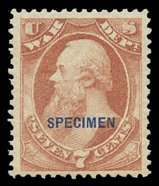 Value of US Stamp Scott #O87 - 7c 1873 War Official. Matthew Bennett International, Sep 2010, Sale 333, Lot 4016