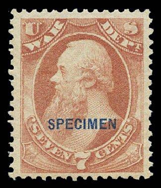 Value of US Stamp Scott #O87 - 7c 1873 War Official. Matthew Bennett International, Sep 2010, Sale 333, Lot 4016