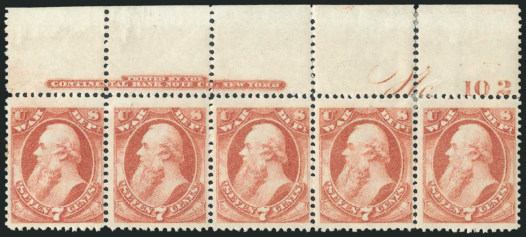 US Stamps Value Scott Catalogue # O87 - 1873 7c War Official. Robert Siegel Auction Galleries, Dec 2010, Sale 1003, Lot 5466