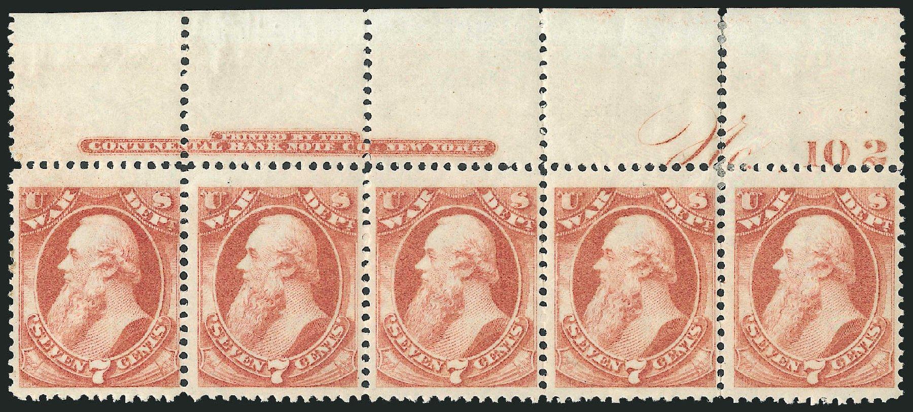 US Stamps Value Scott Catalogue # O87 - 1873 7c War Official. Robert Siegel Auction Galleries, Dec 2010, Sale 1003, Lot 5466