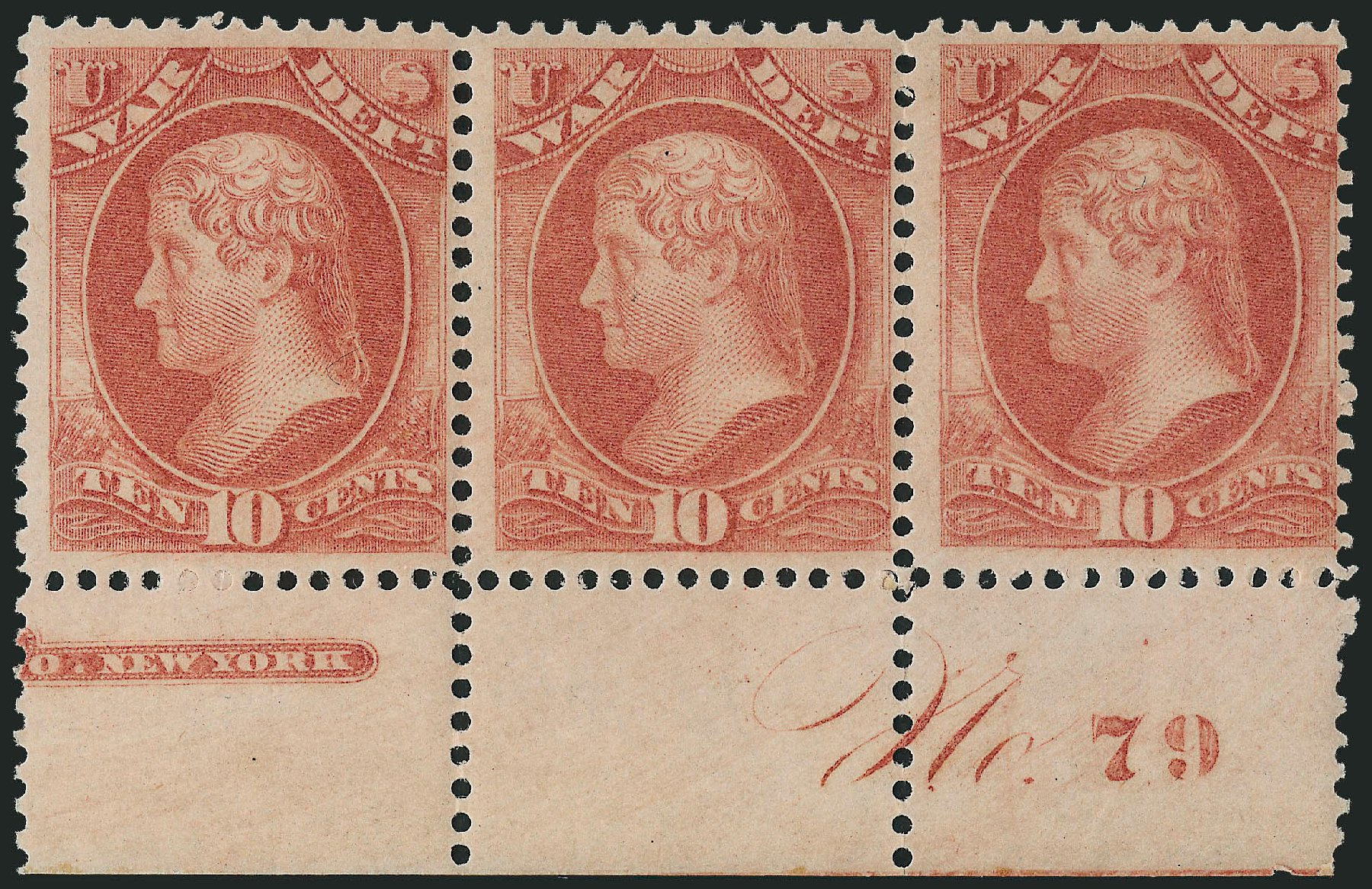 Cost of US Stamps Scott Cat. O88 - 1873 10c War Official. Robert Siegel Auction Galleries, Dec 2010, Sale 1003, Lot 5468