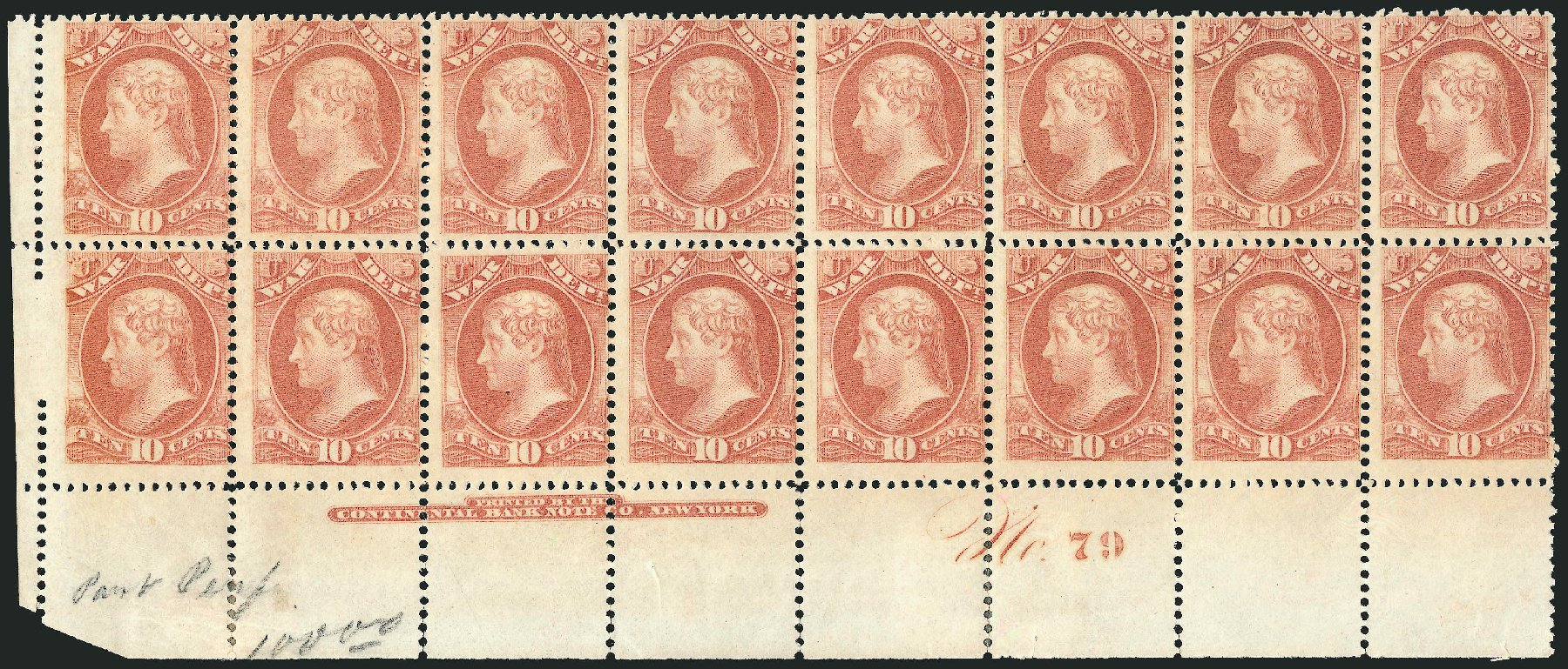 US Stamp Prices Scott # O88: 1873 10c War Official. Robert Siegel Auction Galleries, Nov 2014, Sale 1085, Lot 4160