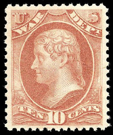 Costs of US Stamps Scott Catalogue # O88 - 10c 1873 War Official. Matthew Bennett International, Apr 2008, Sale 326, Lot 701
