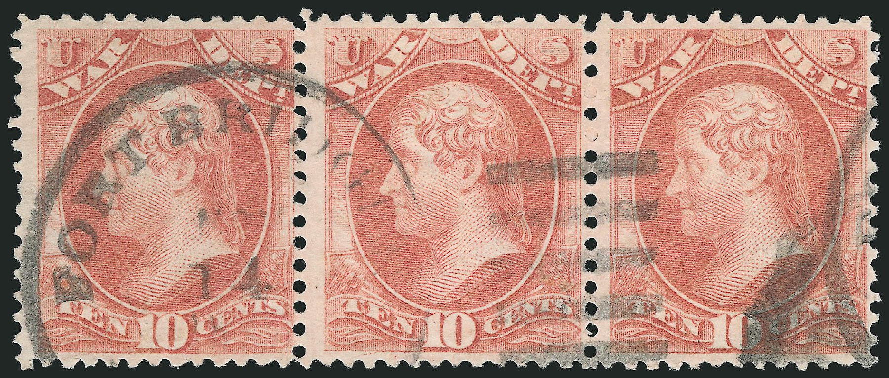 Costs of US Stamps Scott Catalog O88 - 10c 1873 War Official. Robert Siegel Auction Galleries, Nov 2014, Sale 1085, Lot 4163