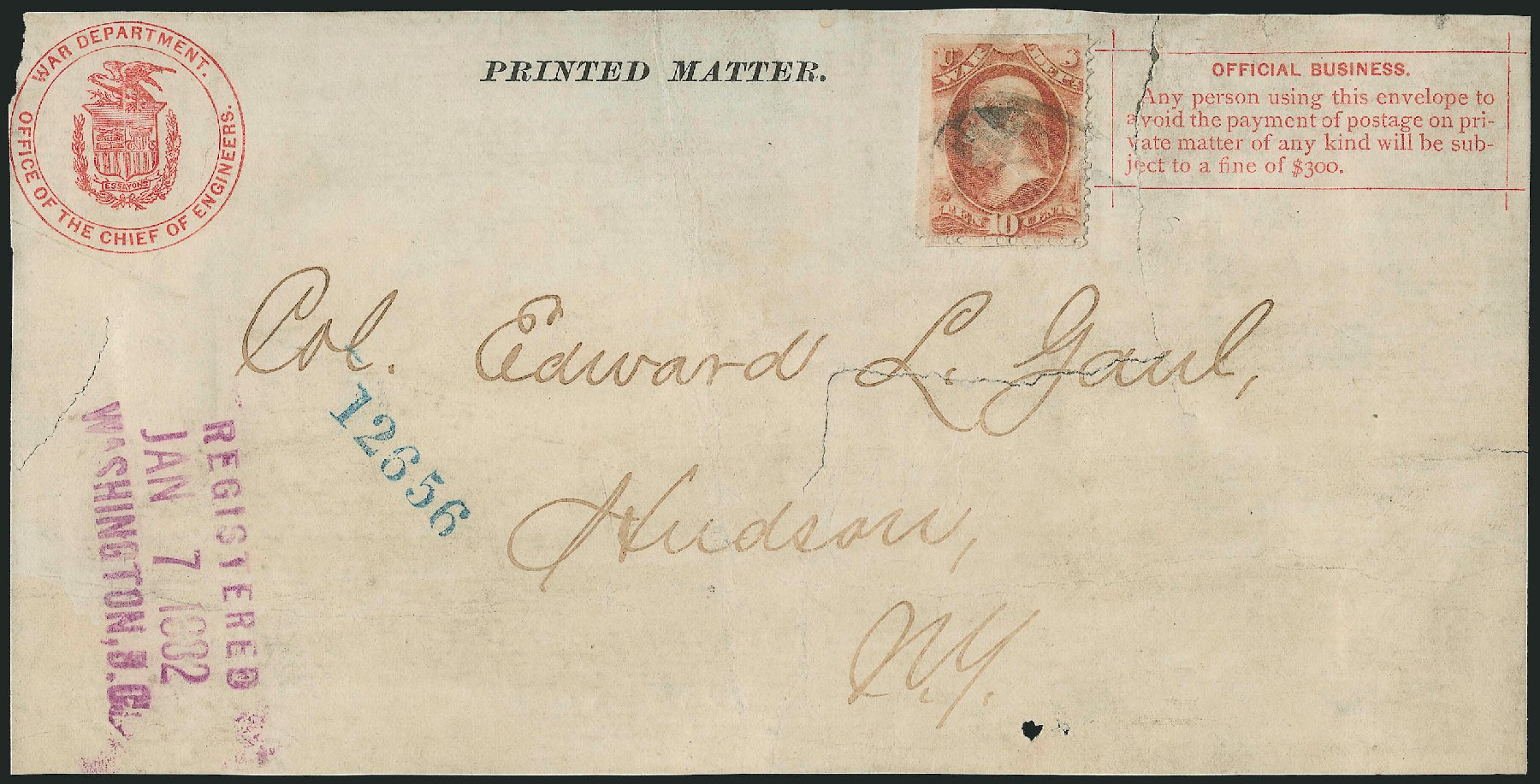 Costs of US Stamp Scott O88: 10c 1873 War Official. Robert Siegel Auction Galleries, Dec 2010, Sale 1003, Lot 5516