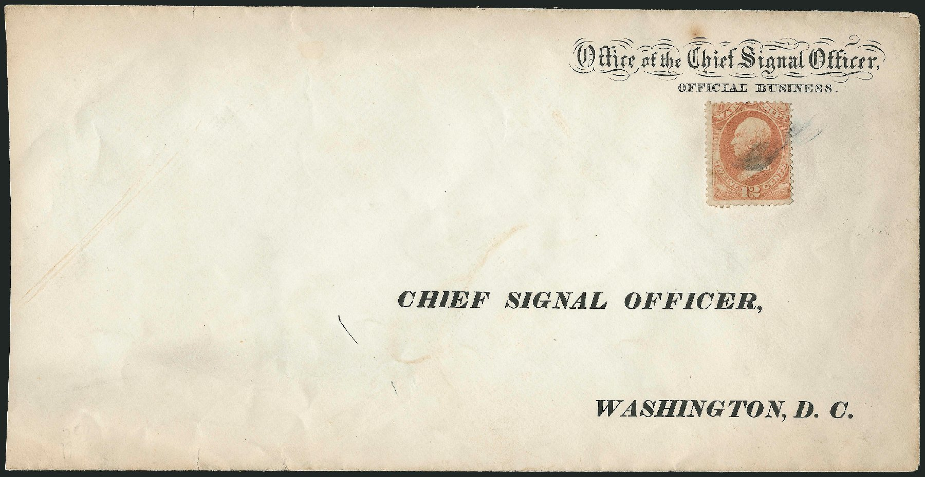 US Stamps Prices Scott Catalog O89: 1873 12c War Official. Robert Siegel Auction Galleries, Dec 2010, Sale 1003, Lot 5518