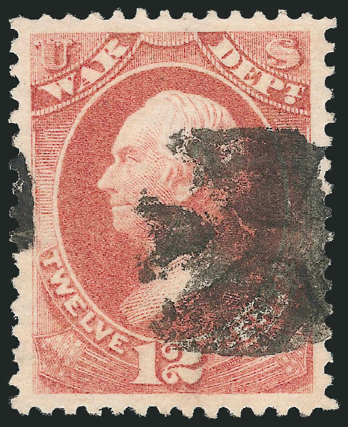 US Stamps Prices Scott Catalogue # O89 - 1873 12c War Official. Robert Siegel Auction Galleries, Oct 2012, Sale 1032, Lot 3689