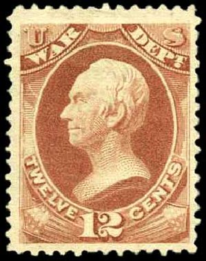 Prices of US Stamp Scott Catalog O89: 1873 12c War Official. Harmer-Schau Auction Galleries, Apr 2008, Sale 77, Lot 141