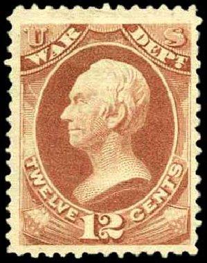 Prices of US Stamp Scott Catalog O89: 1873 12c War Official. Harmer-Schau Auction Galleries, Apr 2008, Sale 77, Lot 141