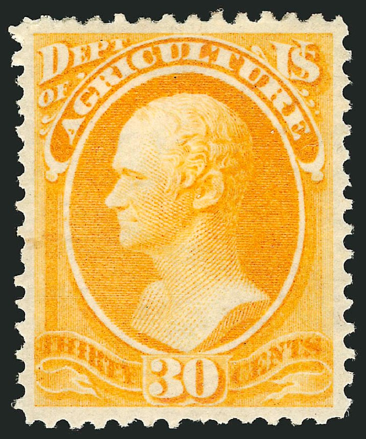 US Stamp Values Scott Catalogue O9 - 30c 1873 Agriculture Official. Robert Siegel Auction Galleries, Nov 2014, Sale 1085, Lot 4017