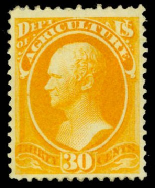 Price of US Stamp Scott Catalog # O9 - 1873 30c Agriculture Official. Daniel Kelleher Auctions, May 2015, Sale 669, Lot 3338