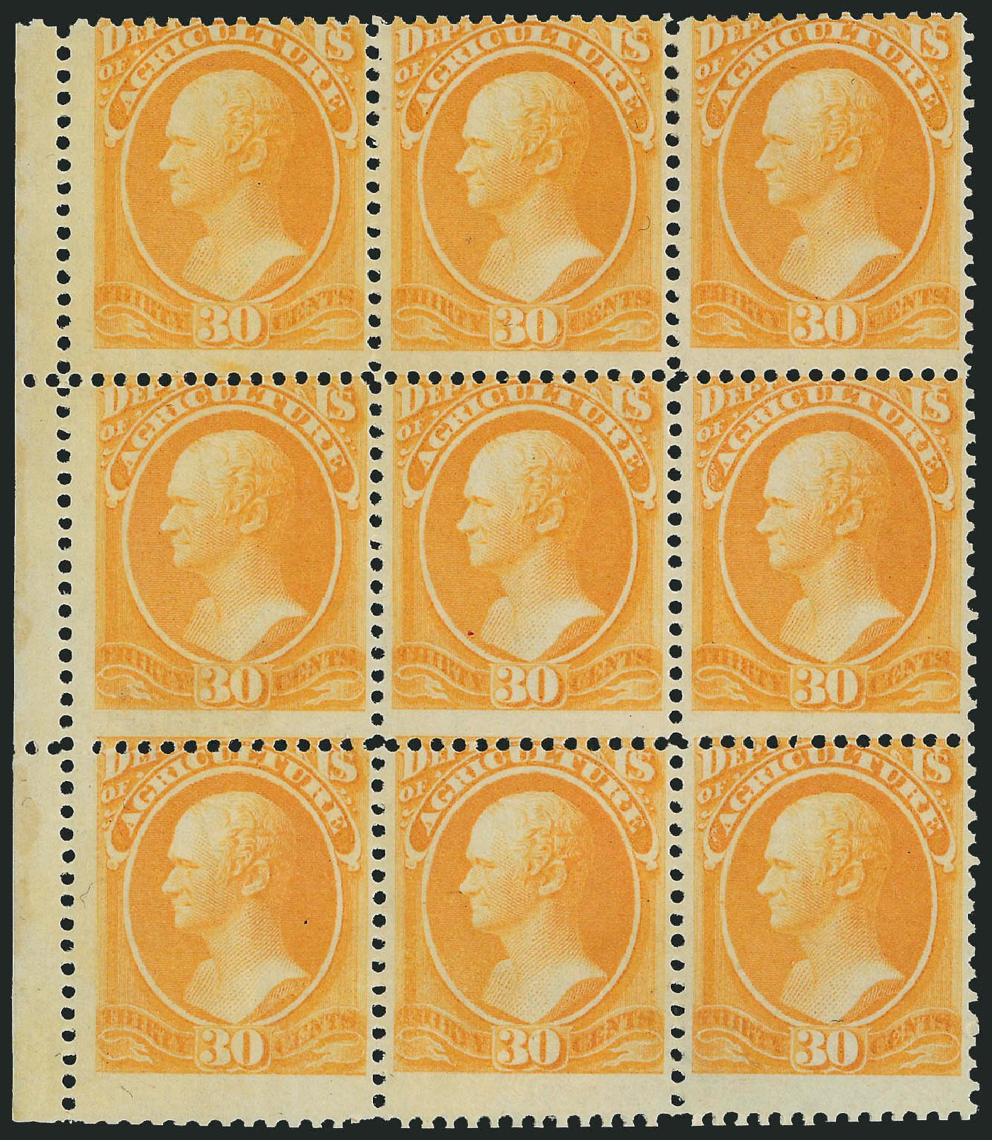 Value of US Stamp Scott Catalog O9: 1873 30c Agriculture Official. Robert Siegel Auction Galleries, Nov 2014, Sale 1085, Lot 4018