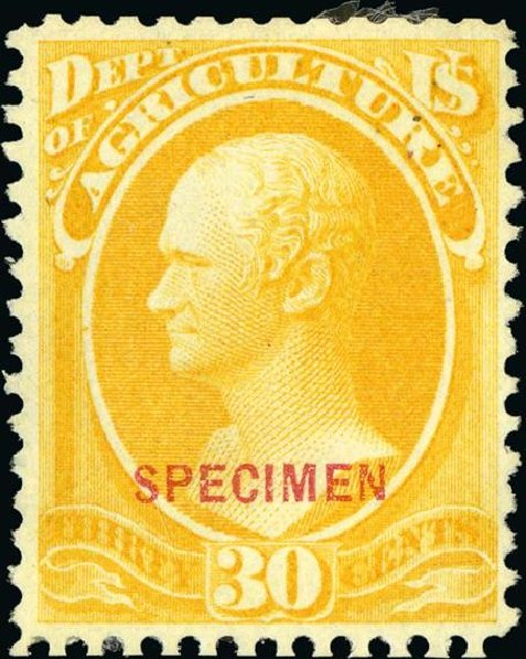 Costs of US Stamp Scott Cat. # O9: 30c 1873 Agriculture Official. Spink Shreves Galleries, Jan 2015, Sale 150, Lot 248