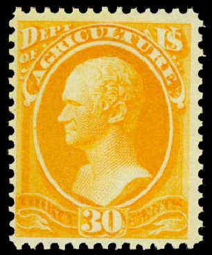 US Stamps Prices Scott #O9 - 1873 30c Agriculture Official. Daniel Kelleher Auctions, Sep 2014, Sale 655, Lot 874