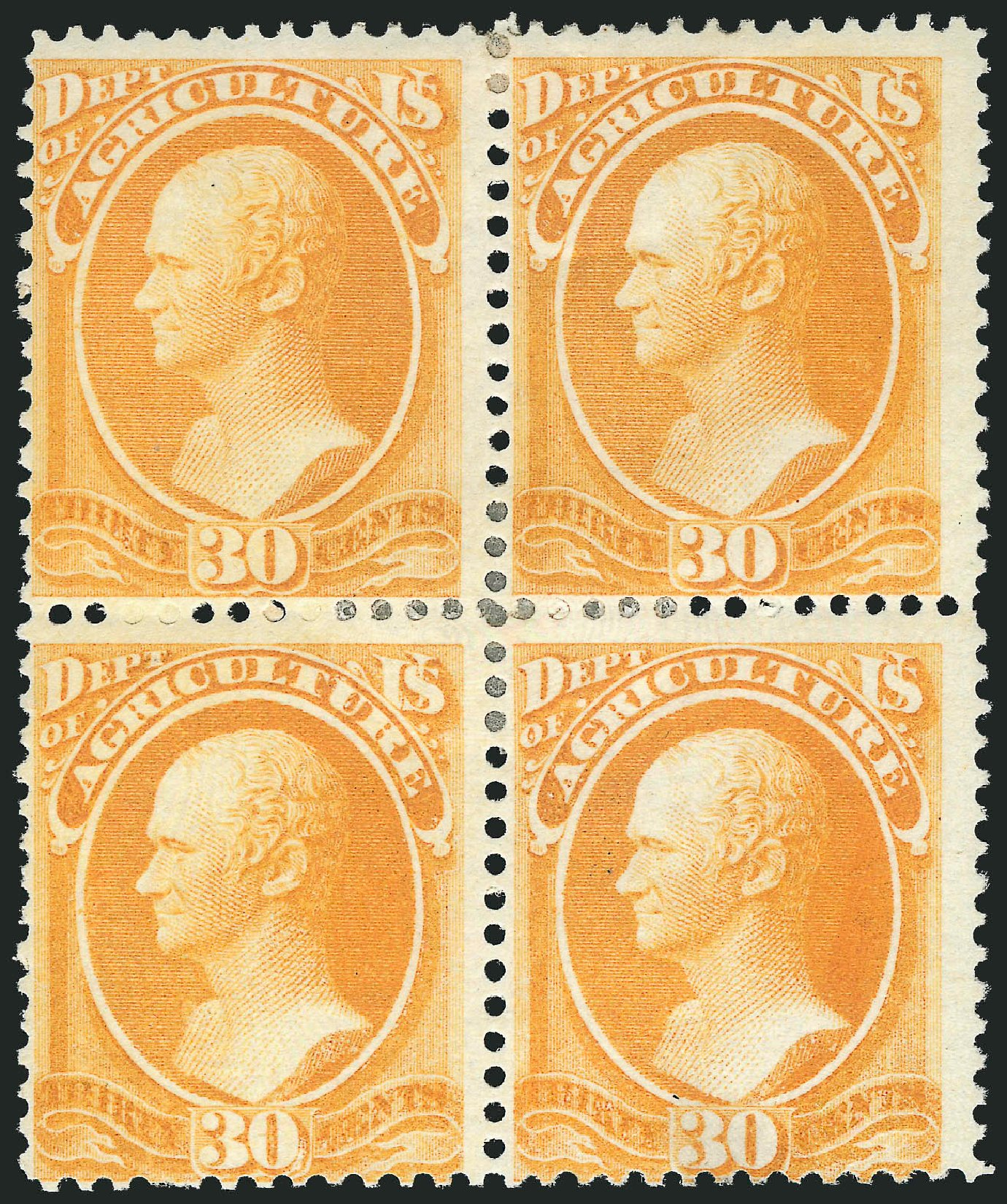 Values of US Stamp Scott O9: 1873 30c Agriculture Official. Robert Siegel Auction Galleries, Dec 2014, Sale 1090, Lot 1664
