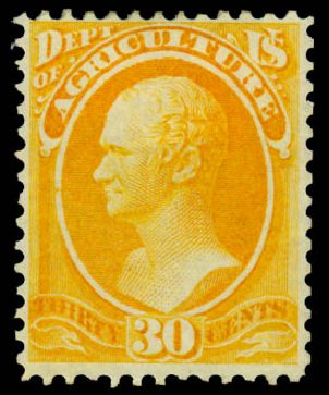 Values of US Stamp Scott O9: 1873 30c Agriculture Official. Daniel Kelleher Auctions, Sep 2013, Sale 639, Lot 3795