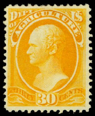 Costs of US Stamps Scott Catalog #O9 - 30c 1873 Agriculture Official. Daniel Kelleher Auctions, Jan 2015, Sale 663, Lot 2142