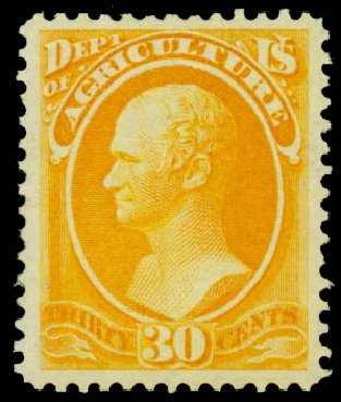 US Stamp Value Scott Catalog O9: 1873 30c Agriculture Official. Daniel Kelleher Auctions, Sep 2014, Sale 655, Lot 873