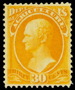 US Stamp Value Scott O9 - 30c 1873 Agriculture Official. Daniel Kelleher Auctions, Aug 2015, Sale 672, Lot 2976