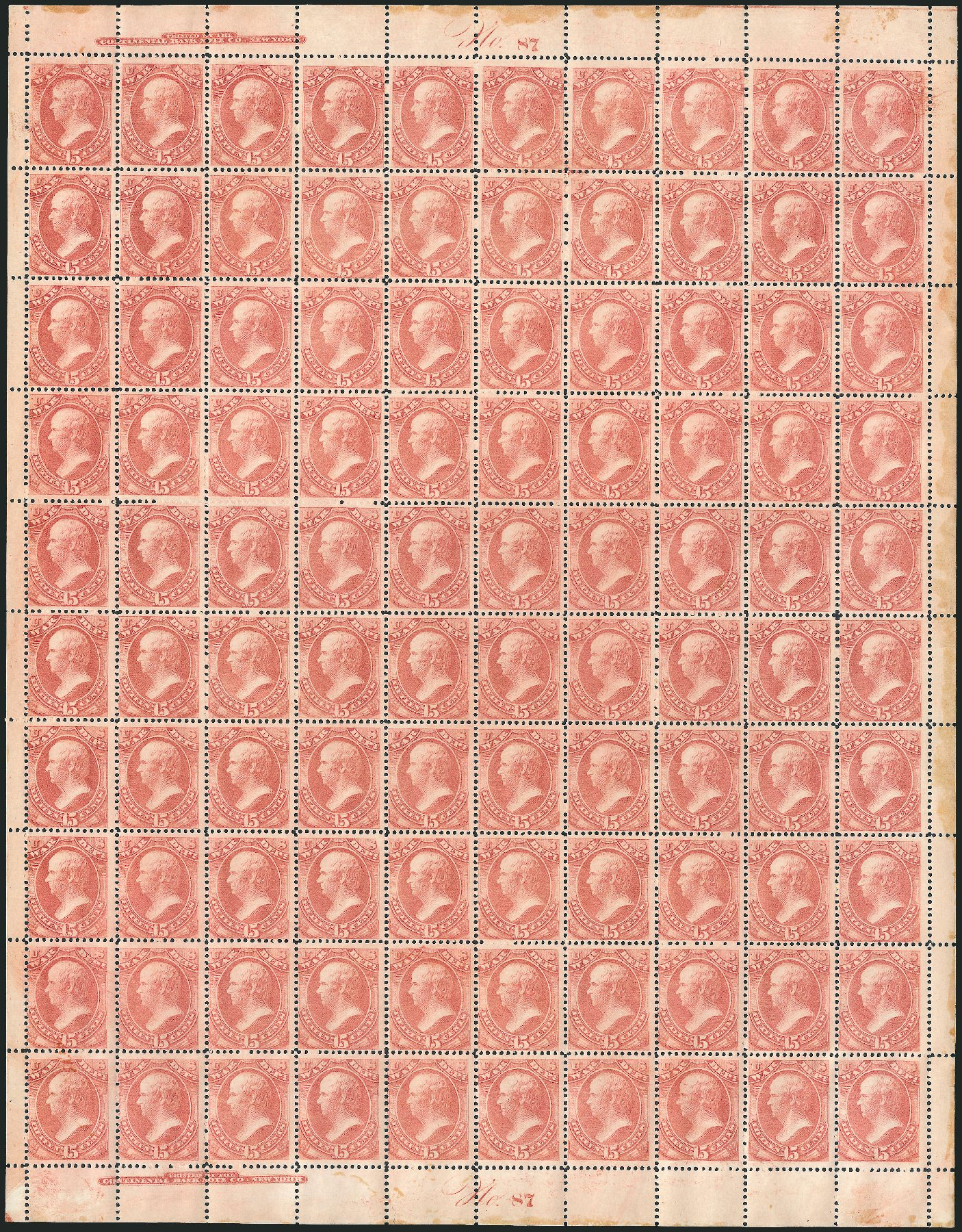 Costs of US Stamps Scott Cat. # O90 - 1873 15c War Official. Robert Siegel Auction Galleries, Oct 2011, Sale 1014, Lot 2367