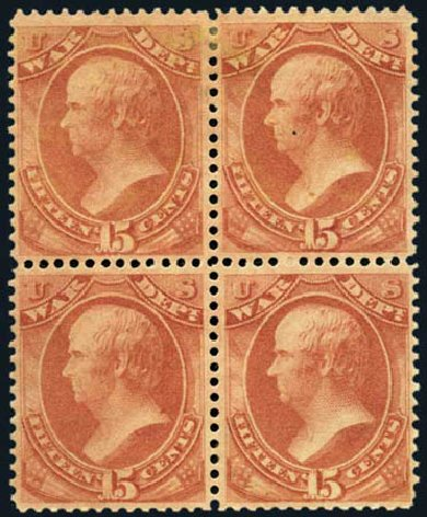 Costs of US Stamp Scott Catalogue # O90 - 15c 1873 War Official. Harmer-Schau Auction Galleries, Jan 2013, Sale 96, Lot 704
