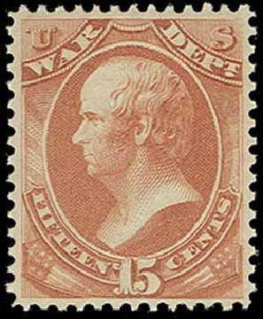 US Stamp Price Scott Catalog #O90: 15c 1873 War Official. H.R. Harmer, Jun 2015, Sale 3007, Lot 3494