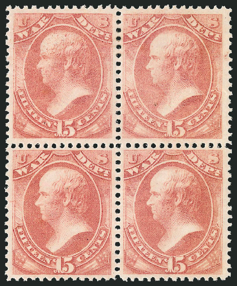 US Stamp Prices Scott Cat. # O90 - 15c 1873 War Official. Robert Siegel Auction Galleries, Nov 2014, Sale 1085, Lot 4165