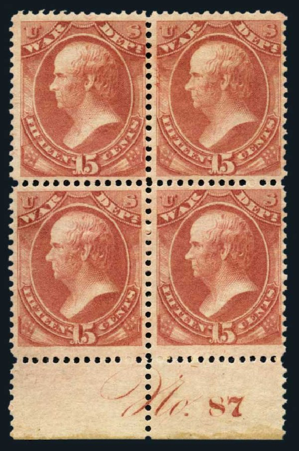 Prices of US Stamps Scott Catalogue # O90: 15c 1873 War Official. Harmer-Schau Auction Galleries, Aug 2014, Sale 102, Lot 2206